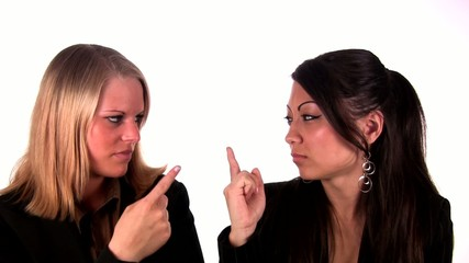 Two women with a wagging finger for each other (1080i/PAL)
