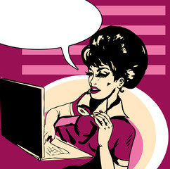 Popart Business woman  Illustration of business woman in office