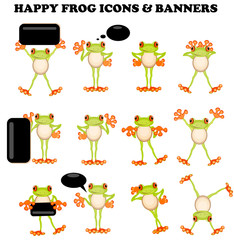 Frog  icons with a blank sign active design elements banner spee