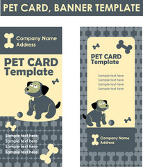 Vector illustration of dog symbol zoo shop business card with fo