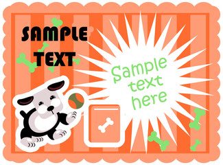 Cute dogs food card template vector poster paper tag with flash