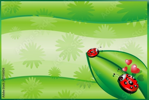Coccinella e Amore-Ladybug in Love Background-Vector