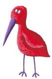 Funny red bird with purple beak poster