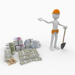3d man worker with money pile