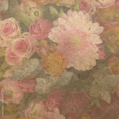 vintage wallpaper background with bouquet © elenarostunova