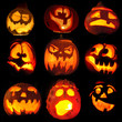 Collection of carved halloween pumpkins