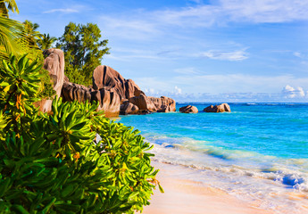Tropical beach Source D'Argent at Seychelles