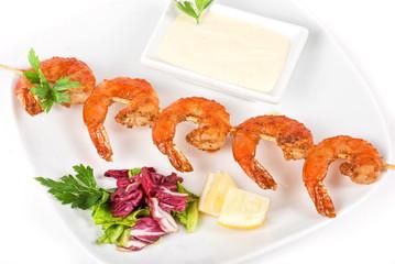 Fried kebab of shrimps