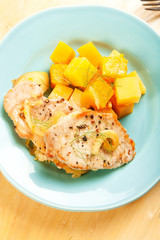 Pork chops with fall vegetables