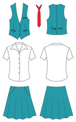 Suit of the cashier or seller (waistcoat, shirt, tie, skirt)
