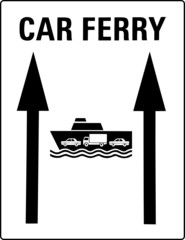 car ferry harbor sign