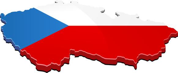 Carte de la république Tchèque 3D drapeau (détouré)