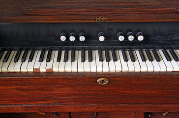 white keys on old harpsichord