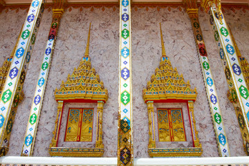 Windows Thai painting of Buddhist temple Thailand