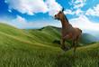 pferd galoppiert am berg