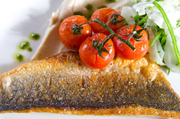 Sea bass with roasted cherry tomatoes