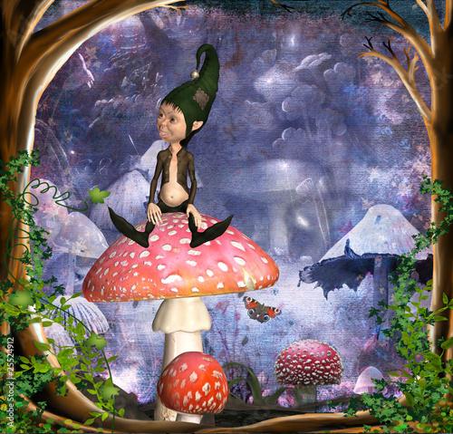 Fotobehang Feeën en elfen kobold auf fliegenpilz