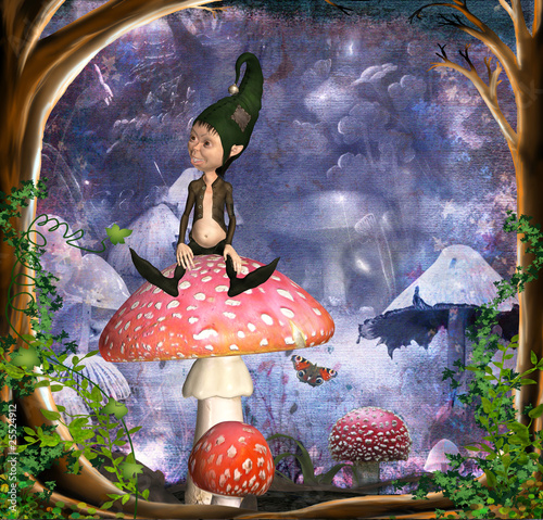 Foto op Canvas Feeën en elfen kobold auf fliegenpilz