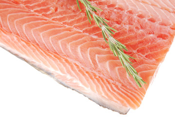 fresh uncooked salmon fillet with rosemary