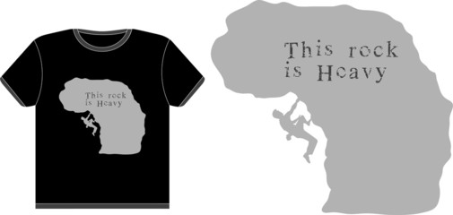 T-shirt vector design with a climber silhouette on a rock