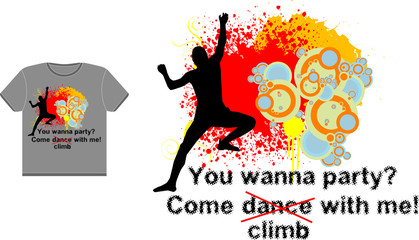 Abstract t-shirt vector design with a climber silhouette