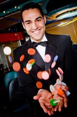 Winning man in a casino