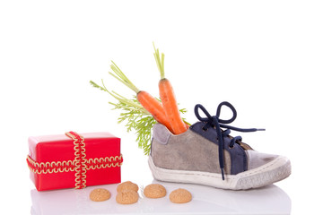 Traditional Dutch feast with gifts and a carrots for the horse o