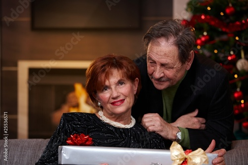 Happy senior couple at christmas