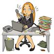 Stress, Arbeit, Büro, Angestellte, Sekretärin, überfordert