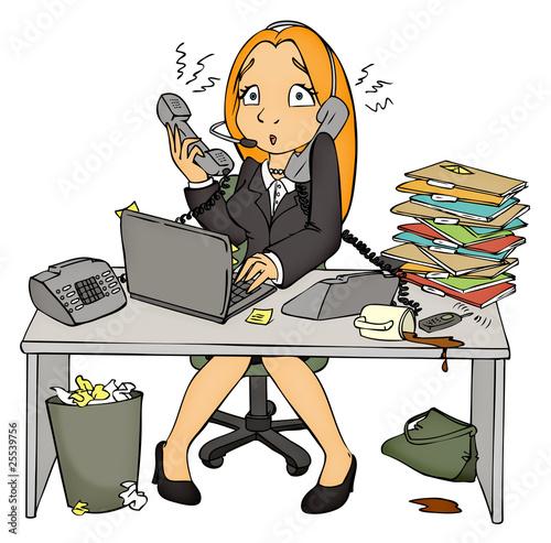 canvas print picture Stress, Arbeit, Büro, Angestellte, Sekretärin, überfordert