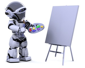 robot with pallette and paint brush