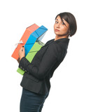Young businesswoman with big paper folders