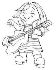 Kind, Mädchen, Gitarre, Musik, Rock, Rockstar