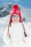 Cute girl on winter vacation poster