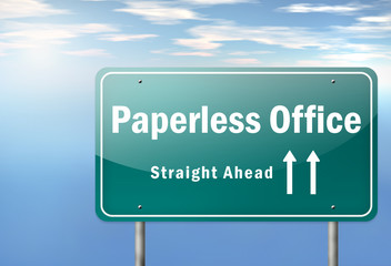 "Highway Signpost ""Paperless Office"""