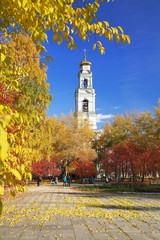 Autumn Landscape with a bell tower in Ekaterinburg, Russia