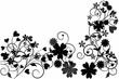 Schwarze Blumenornamente mit Platz für Text