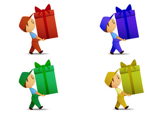 Set of colored delivery boy with gift box