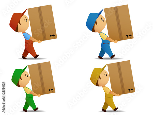 Set many-coloured delivery boy with box