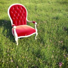 dreamlike scene armchair on a meadow