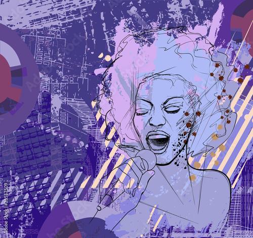 jazz singer on grunge background - 25557509