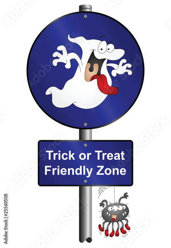 Halloween trick or treat friendly zone sign