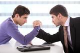 businessmen arm-wrestling. poster