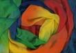 Leinwandbild Motiv Seidenschal in Regenbogenfarben
