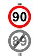 Jahreszahlen Schild 90