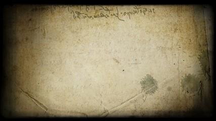 Grungy specific handwriting of Leonardo da Vinci (mirror). HD