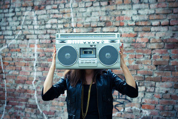 Woman with boom box head