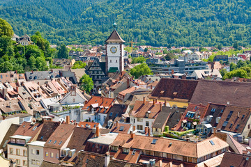 View of the city of Freiburg in the Black Forest, Germany