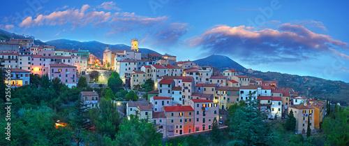 Leinwandbild Motiv Panorama Blue Hour at Elba Island, Tuscany