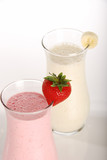 strawberry and banana milkshake closeup